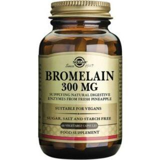Solgar Bromelain 300mg Συμπλήρωμα Διατροφής για την Φυσιολογική Λειτουργία του Πεπτικού Συστήματος 60Caps 300mg