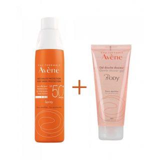 Avene Spray SPF50+ Αντηλιακό Σπρέι 200ml & Δώρο Body Shower Gel Τζελ Σώματος για το Ντους 100ml για Ευαίσθητες Επιδερμίδες