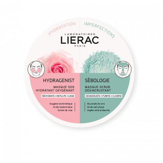 Lierac hydragenist SOS moisturizing Oxygenating Mask 6ml + Sebologie Μάσκα Απολέπισης κατά των Ατελειών 6ml