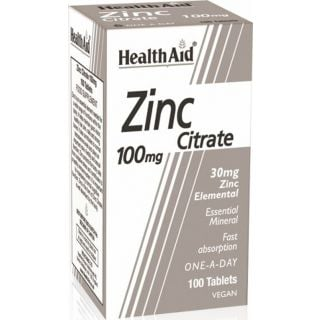 Health Aid Zinc Citrate 100mg 100ταμπλέτες Συμπλήρωμα Διατροφής με Ψευδάργυρο