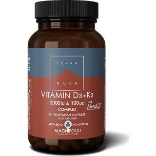 TerraNova Vitamin D3 2000iu με K2 100μg 50κάψουλες