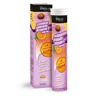 Inoplus Echinacea, Propolis, Vitamin C 1000mg 20 Αναβράζοντα Δισκία + 4 Δώρο με Γεύση Πορτοκάλι