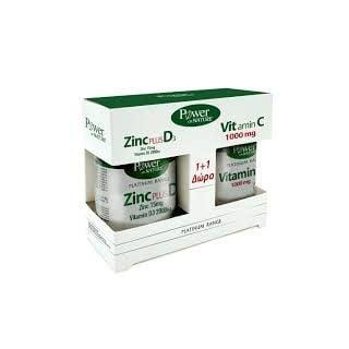 Power Health Promo Zinc 15mg Plus D3 2000IU 30 Caps & Δώρο Vitamin C 1000mg 20Tabs