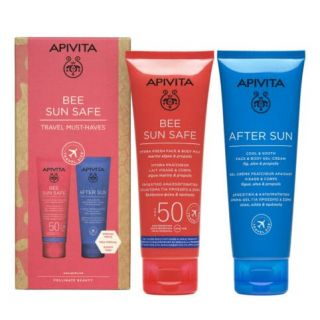 Apivita Bee Sun Safe Travel Must-haves Hydra Fresh Face & Body Milk Spf50 100ml & After Sun Cool & Smooth Face & Body Gel-Cream 100ml