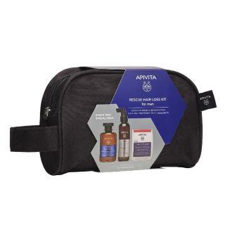 Apivita Rescue Kit Τριχόπτωσης για Άνδρες με Τονωτικό Σαμπουάν 250ml & Λοσιόν κατά της Τριχόπτωσης 150ml & Συμπλήρωμα Διατροφής για υγιή Μαλλιά και Νύχια 30κάψουλες