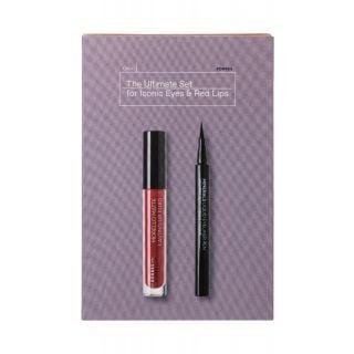 Korres The Ultimate Set for Iconic Eyes & Red lips - Minerals Black Liquid Eyeliner Pen 1ml + Morello Matte Lasting Fluid No59 Brick Red 3.4ml