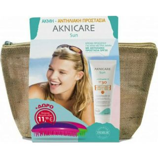 Synchroline Aknicare Sun Πακέτο Προσφοράς, Αντιλιακή Κρέμα για Ακμή Spf30 50ml & Dessata Βούρτσα Μαλλιών