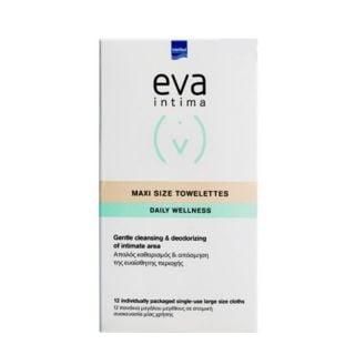 Intermed Eva Intima Maxi Size Towelettes Μαντηλάκια Καθαρισμού Ευαίσθητης Περιοχής με Αντιμικροβιακή, Αποσμητική & Αντικνησμική Δράση 12 ατομικά φακελάκια