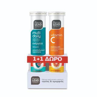 PharmaLead Multi Daily Πολυβιταμίνη με Ρόδι Μέταλλα & Ιχνοστοιχεία & Δώρο Βιταμίνη C 550mg 2x20 αναβράζοντα δισκία