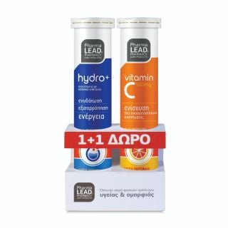 PharmaLead Hydro+ Ηλεκτρολύτες με Βιταμίνες & Μέταλλα & Δώρο Βιταμίνη C 550mg 2x20 Αναβράζοντα Δισκία