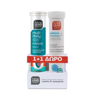 PharmaLead Multi Daily Πολυβιταμίνη με Ρόδι Μέταλλα & Ιχνοστοιχεία & Δώρο Ασβέστιο, Μαγνήσιο, Βιτ. D3, K1, K2 2x20 αναβράζοντα δισκία