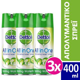 Dettol Promo Pack All in One Spring Waterfall 3 x 400ml Απολυμαντικό Σπρέι