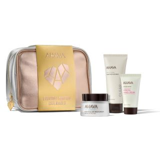 Ahava Everyday Mineral Essentials - Essential Day Moisturizer for Normal to Dry Skin 50ml, Purifying Mud Mask 100ml & Mineral Hand Cream 40ml
