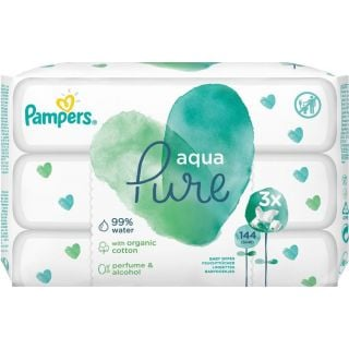 Pampers Aqua Pure Wipes 3x48τεμ Μωρομάντηλα