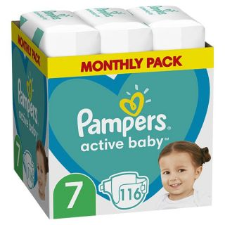 Pampers Active Baby Maxi Pack No7 (15+ kg) 116 Τεμάχια