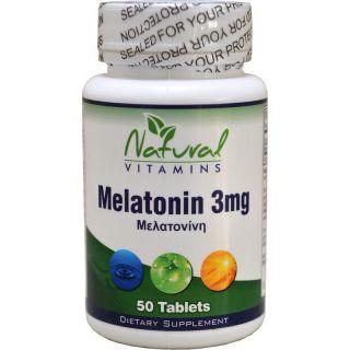 Natural Vitamins Melatonin Βοήθεια για τον Ύπνο Μελατονίνη 3mg 50 ταμπλέτες