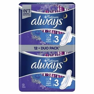 Always Platinum Ultra Night 12 Items Pads with Wings