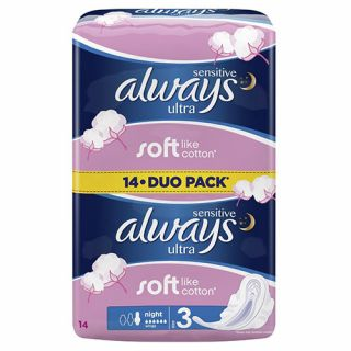 Always Sensitive Ultra Night 14 Items Pads with Wings
