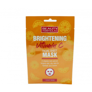 Beauty Formulas Υφασμάτινη Μάσκα Προσώπου με Βιταμίνη C για Λάμψη & Ενυδάτωση 1τεμάχιο