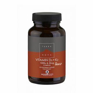 Terranova Vitamin D3 1000iu + K2 50µg Complex 50 Caps