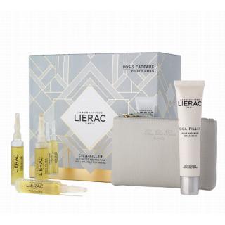 Lierac Cica-Filler Αντιρυτιδικός Επανορθωτικός Ορός 3 x 10ml + Δώρο Cica-Filler Cream 40ml &  Δερμάτινο Πορτοφόλι