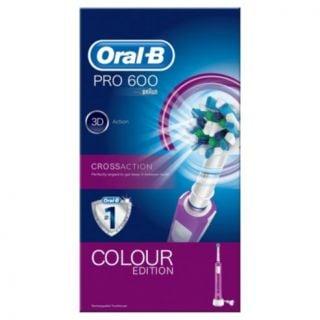 Oral-B Pro 600 Crossaction Colour Editon Pink Ηλεκτρική Οδοντόβουρτσα σε Χρώμα Ροζ 1 Τεμάχιο