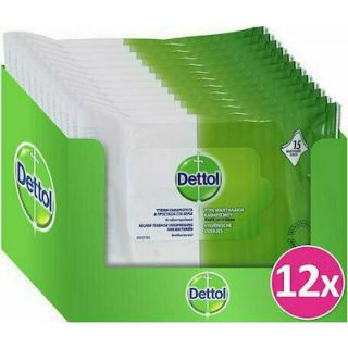 Dettol Wet Antibacterial Cleansing Wipes 12 x 15 Τεμάχια