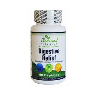Natural Vitamins Digestive Relief 60 Κάψουλες Συμπλήρωμα Διατροφής για Ανακούφιση από Προβλήματα Πέψης
