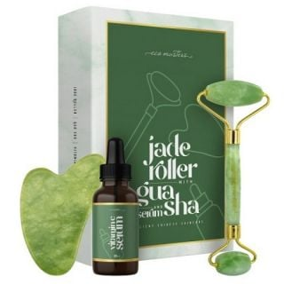 Eco Masters Jade Roller Νεφρίτη & Gua Sha Εργαλείο Γλυπτικής Προσώπου Eco Masters & Serum Βιταμίνης C
