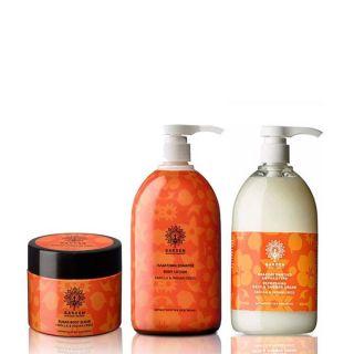 Garden Promo Pack Vanilla & Indian Cress - Απολεπιστικό Σώματος με Κόκκους Φυσικών Κρυστάλλων Ζάχαρης 200ml + Ενυδατικό Γαλάκτωμα Σώματος 1Lt + Αναζωογονητικό Αρωματικό Αφρόλουτρο 1Lt