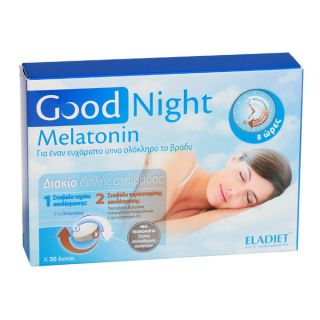 Eladiet Good Night Melatonin Nutritional Supplement for Insomnia, 30Tablets