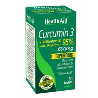 Health Aid Curcumin 3 with Piperine 600mg 30 Tabs