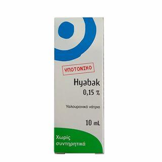 Hyabak 0.15% 10ml Οφθαλμικές Σταγόνες