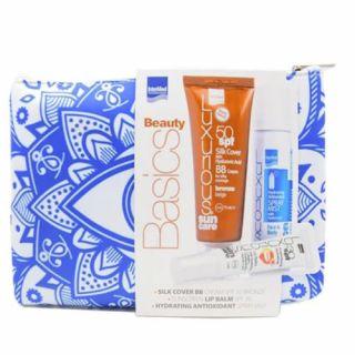 InterMed BEAUTY BASICS - Luxurious Sun Care Silk Cover Bronze Beige SPF50 75ml + Luxurious Sun Care Hydrating Antioxidant Mist Face & Body 50ml + Luxurious Protective & Hydrating Lip Balm SPF 30 15ml