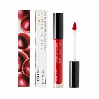 Korres Morello Matte Lasting Lip Fluid 3.4 ml 52 Poppy Red