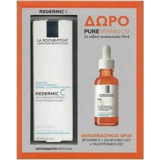 La Roche Posay Redermic C 40ml Αντιγηραντική κρέμα για Κανονικό - Μικτό Δέρμα + Δώρο Pure Vitamin C10 10ml