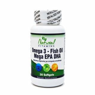 Natural Vitamins Omega 3 Fish Oil Mega EPA DHA 30 Softgels