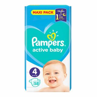 Pampers Active Baby Maxi Pack No4 (9 - 14kg) 58