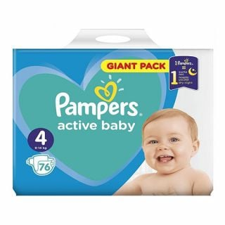 Pampers Active Baby Maxi Pack No4 (9 - 14kg) 76