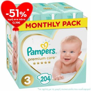 Pampers Premium Care New Baby Midi No3 (6 - 10kg) 204