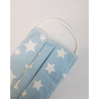 Παιδική Μάσκα Πολλαπλών Χρήσεων Βαμβακερή με έλασμα Γαλάζια - Αστεράκια 1 Τεμάχιο