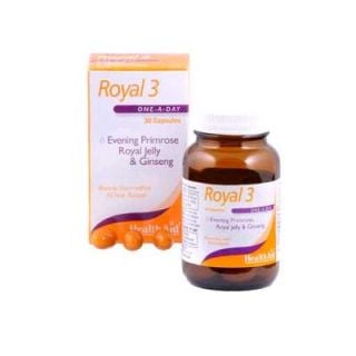 Health Aid Royal-3 EPO/R.JELLY/GINSENG 30 Caps Energy