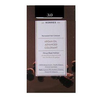 Korres Argan Oil Advanced Colorant 50ml Permanent Hair Colorant 3.0 Natural Dark Brown