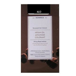 Korres Argan Oil Advanced Colorant 50ml Permanent Hair Colorant 4.0 Natural Brown