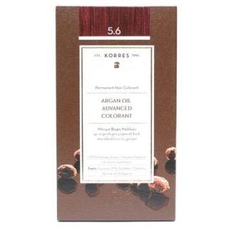 Korres Argan Oil Advanced Colorant 50ml Μόνιμη Βαφή Μαλλιών 5.6 Καστανό Ανοιχτό Κόκκινο