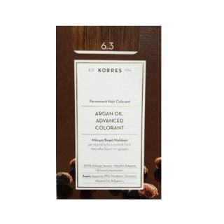 Korres Argan Oil Advanced Colorant 50ml Μόνιμη Βαφή Μαλλιών 6.3 Ξανθό Σκούρο Μελί