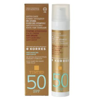 Korres Tinted Sunscreen Face Cream Red Grape Antiageing Antispot SPF50 50ml