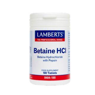 Lamberts Betaine HCI 324mg/Pepsin 5mg 180 Tabs για την Πέψη