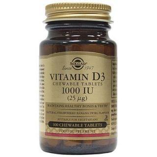 Solgar Vitamin D3 1000IU 100 Chewable Tabs Banana - Strawberry