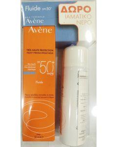 Avene Dry Touch Fluide Spf50+ Αντηλιακή Κρέμα Προσώπου για Ευαίσθητο, Κανονικό & Μεικτό Δέρμα 50ml & Δώρο Avene Eau Thermale Spray Ιαματικό Νερό Σε Σπρέι 50ml